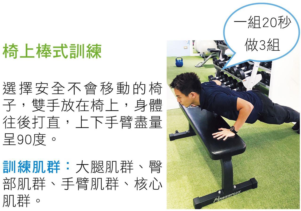 椅子的輔助,可以幫助你深蹲更輕鬆。  訓練肌群:大腿股四頭肌、臀部肌群。