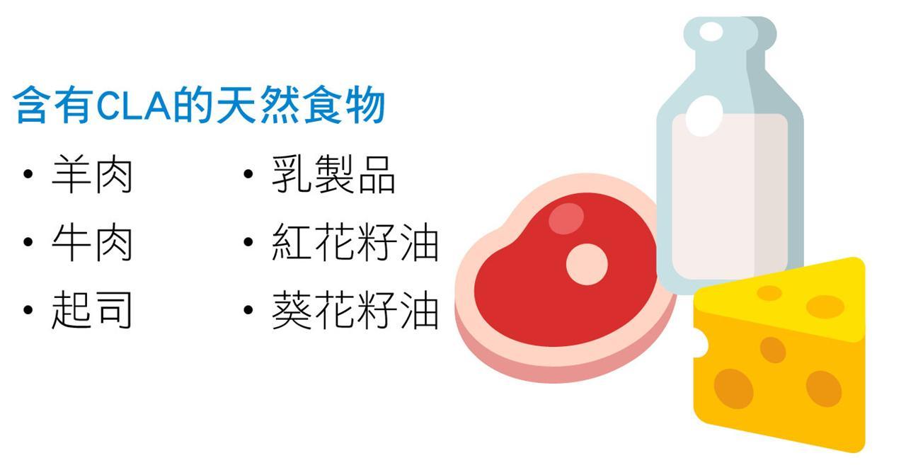 含有CLA的天然食物 ˙羊肉˙牛肉˙起司 ˙乳製品˙紅花籽油˙葵花籽油